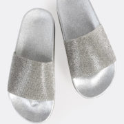 Silver Diamond Accent Slides with Rhinestones