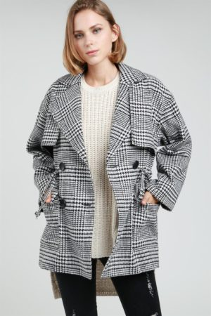 POL Glen Check Patterned Coat