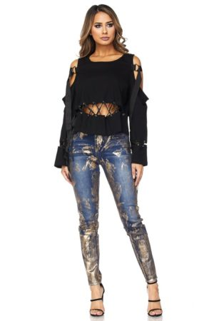 Hot & Delicious Black Cut It Out Lace Up Top