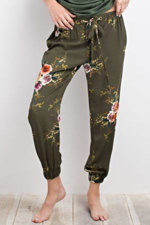 Faded Olive Floral Print Joggers