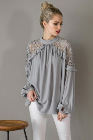 Kaylas Armoire Lace shoulder Blouse