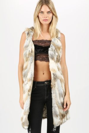 POL Reversible Natural Rabbit Fur Long Vest
