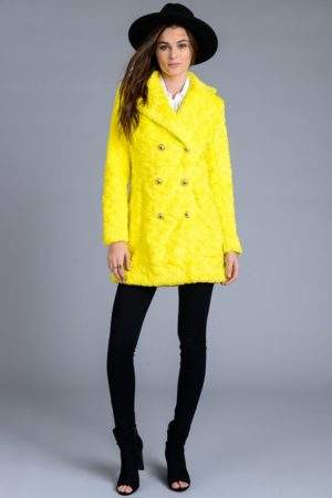 Metro Yellow Faux Fur Pea Coat