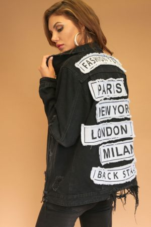 American Bazi Destroyed Letter Patched Black Denim Jacket