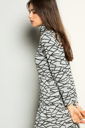 THML Drop Waist Textured Print Dress