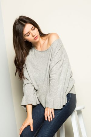 THML Heather Grey Bell Sleeve Knit Sweater