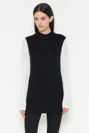 Black Sleeveless Mock Neck Ribbed Sweater