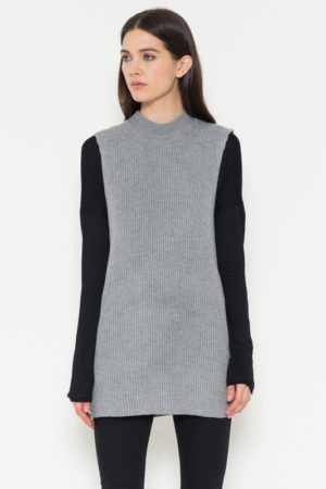 Grey Sleeveless Mock Neck Ribbed Sweater