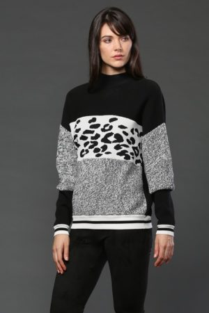 Animal Print Tri Color Pullover Sweater
