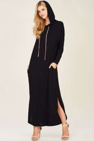 Black Long Sleeve Hooded Maxi Dress