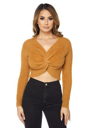 Hot & Delicious Camel Bunny Twisted Sweater Top