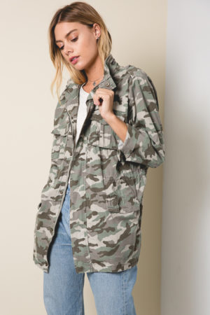 Hayden Camo Cargo Jacket with 4 front pockets and drawstring at waist.