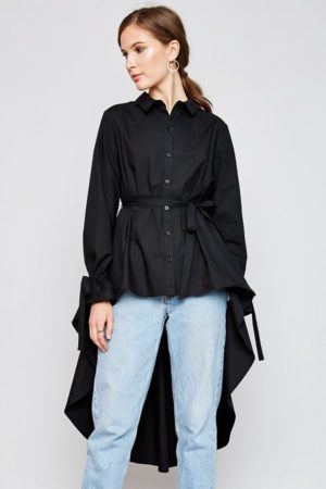 Hayden Black High Low Hem Button Up Blouse