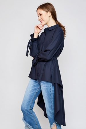 Hayden Navy High Low Hem Button Up Blouse