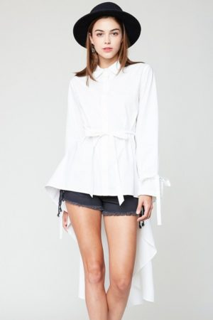 Hayden White High Low Hem Button Up Blouse
