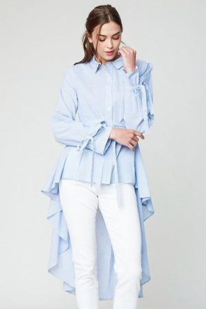 Hayden Sky Blue High Low Hem Button Up Blouse