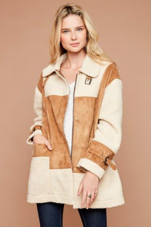 Hayden LA Camel Sherpa Jacket with Belted Sleeve Detail