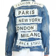 "Distressed ""Fashion Tour"" Denim Jacket"