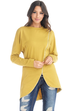 TOV Mustard Zipper Link Top
