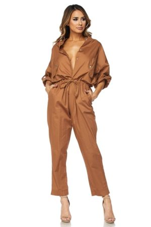 Hot & Delicious Camel Button Up Jumpsuit