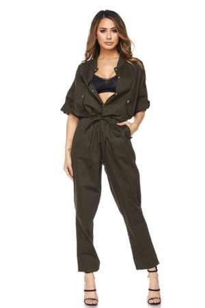 Hot & Delicious Olive Button Up Jumpsuit