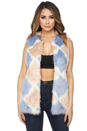 Hot & Delicious Cotton Candy Faux Fur Vest. Diamond Patterned Shaggy Faux Fur Vest