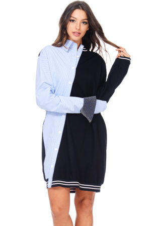 TOV Black & Blue Asymmetrical Night Shirt Varsity Dress