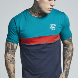 SikSilk Short Sleeve Teal Navy Curved Hem Sports Tee