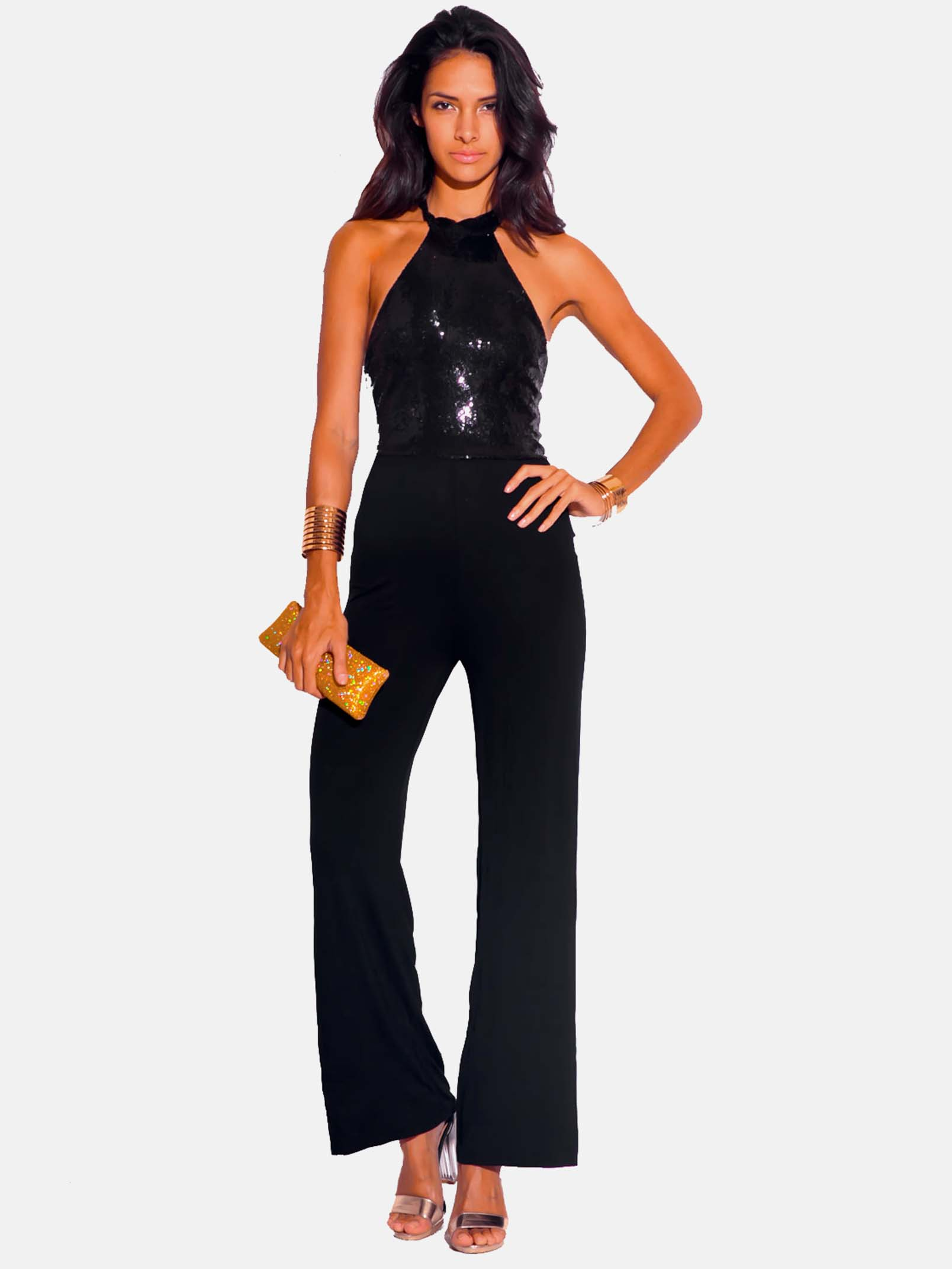 SEQUINED BACKLESS JUMPSUIT