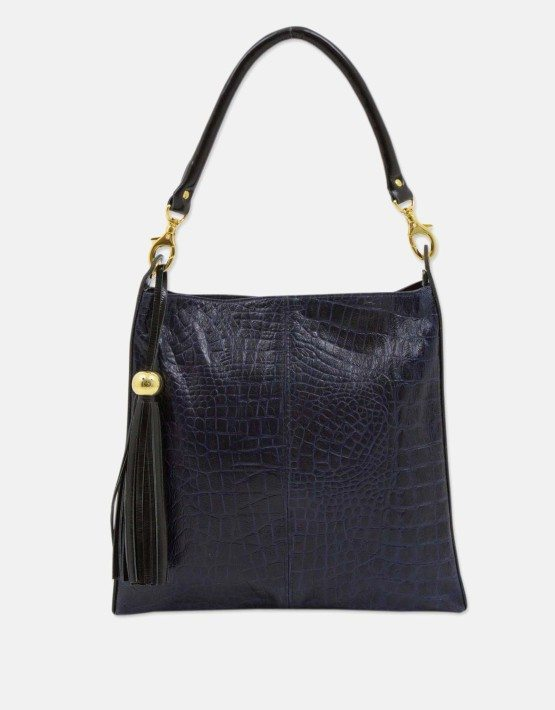 Brazilian Handcrafted Dark Blue Genuine Leather Shoulder Bag