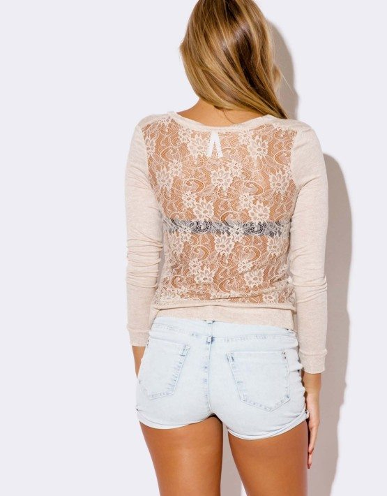 BEIGE LACE BACK CARDIGAN SWEATER