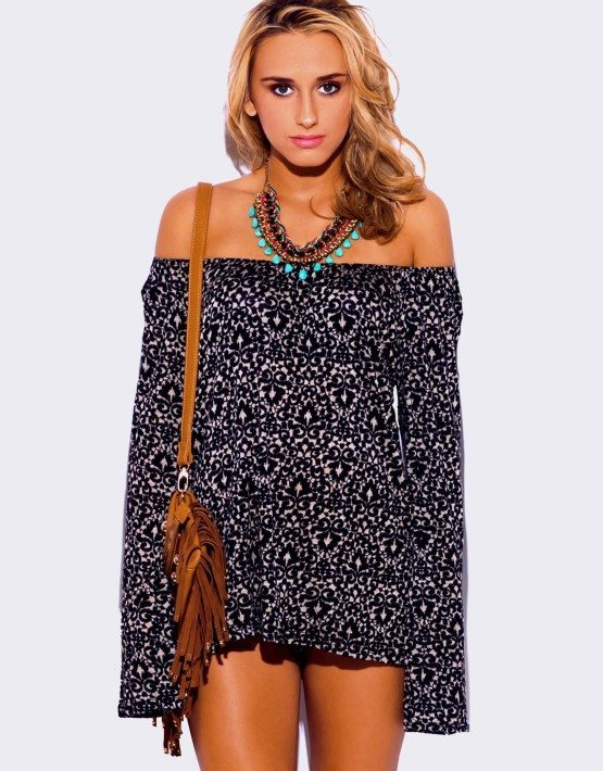 BLACK PRINT LONG SLEEVE TUNIC TOP