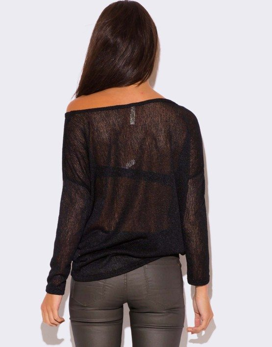 BLACK LONG SLEEVE SHEER KNIT SWEATER TOP