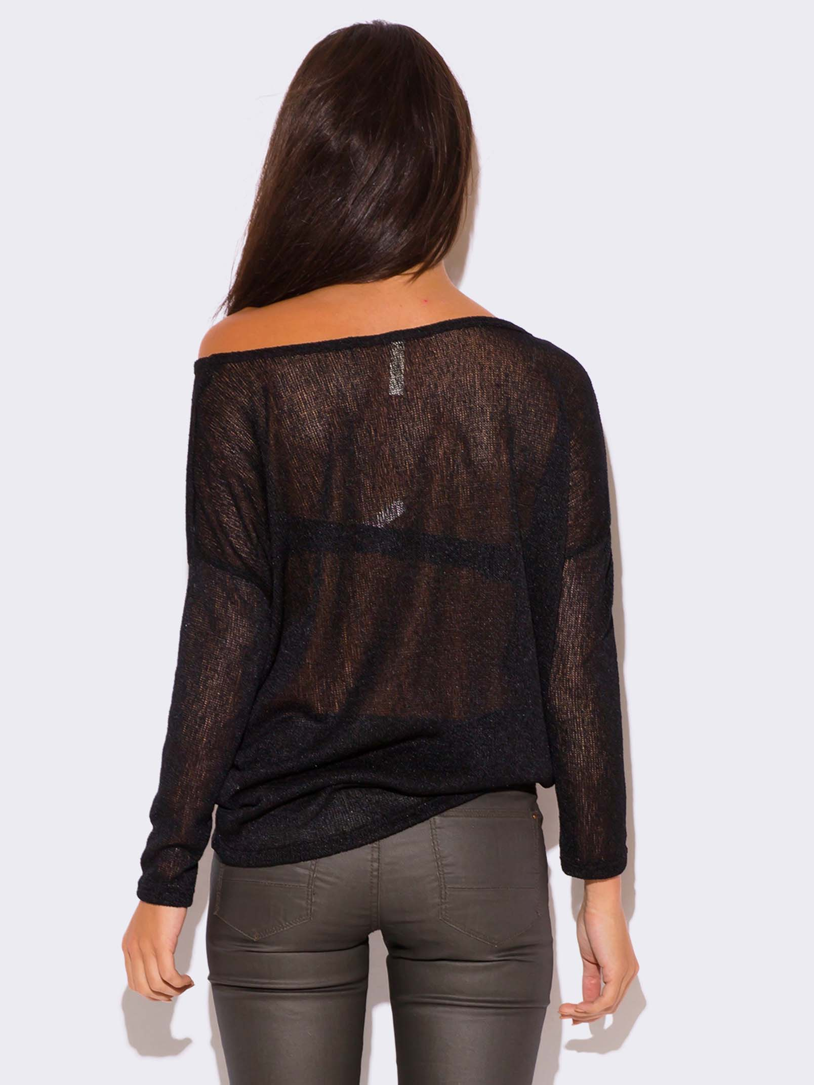 BLACK LONG SLEEVE SHEER KNIT SWEATER TOP - ModishOnline.com