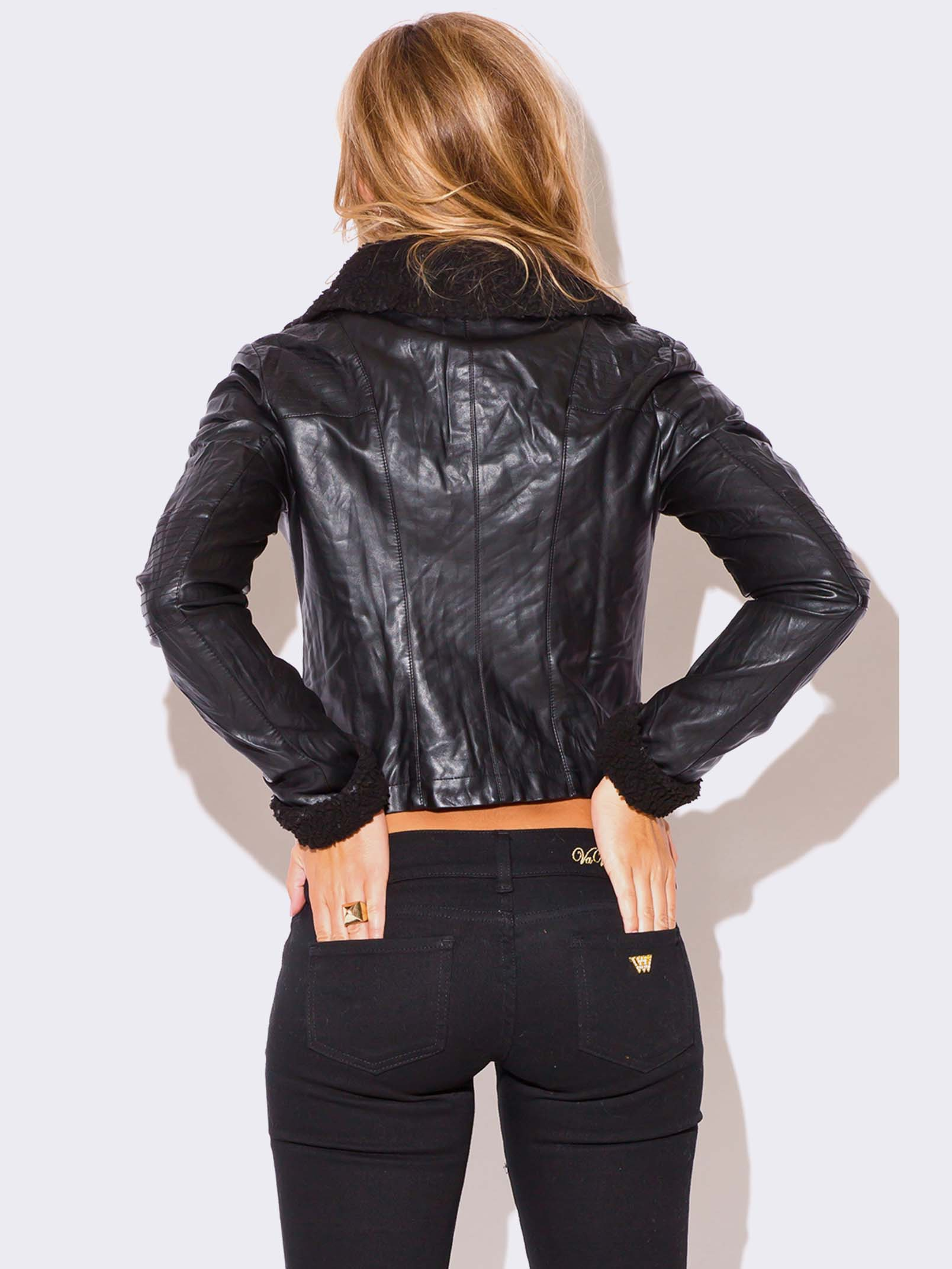 Vegan Leather Biker Jacket Modishonline Com