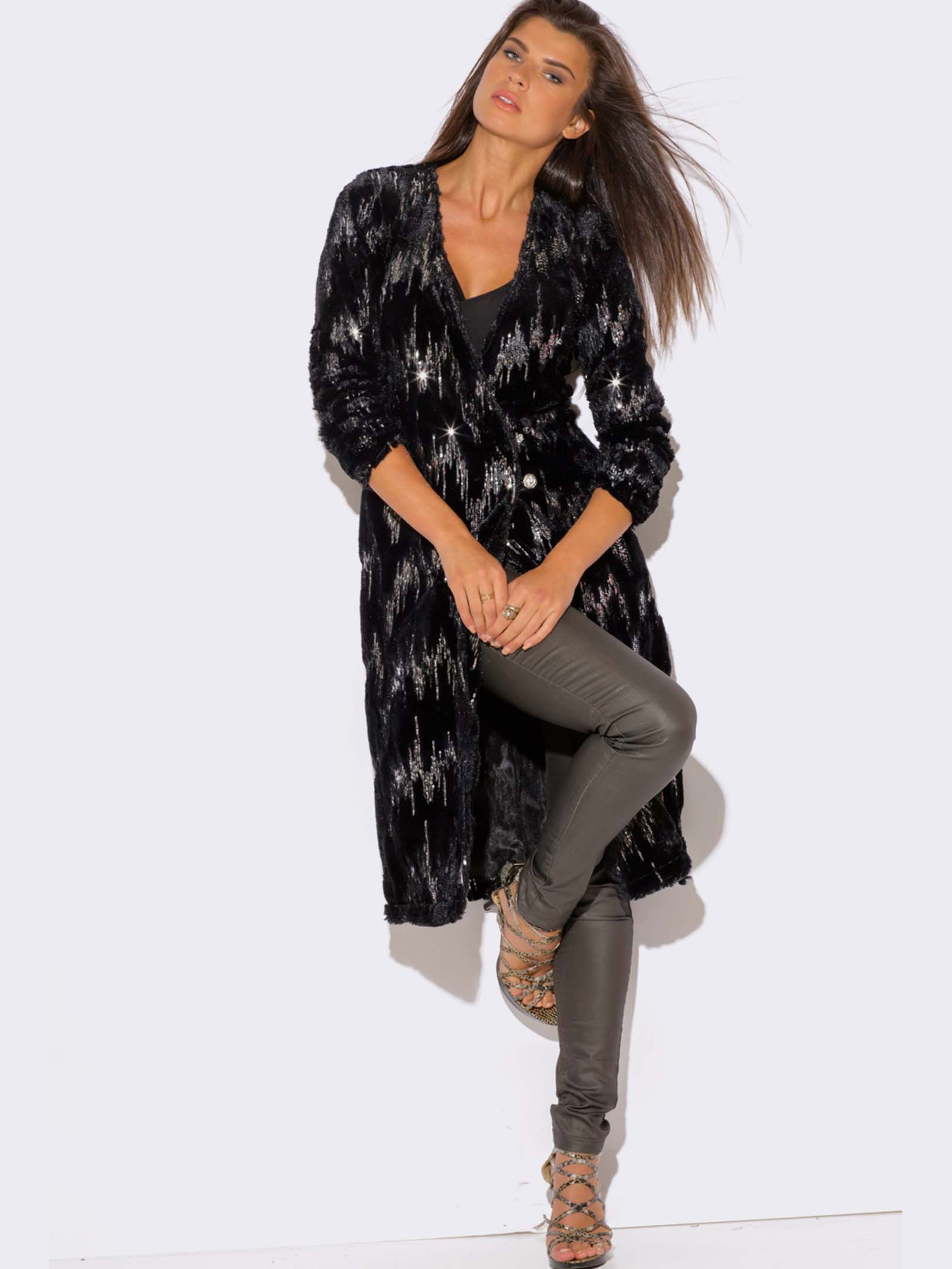 Long Black Sweater Duster