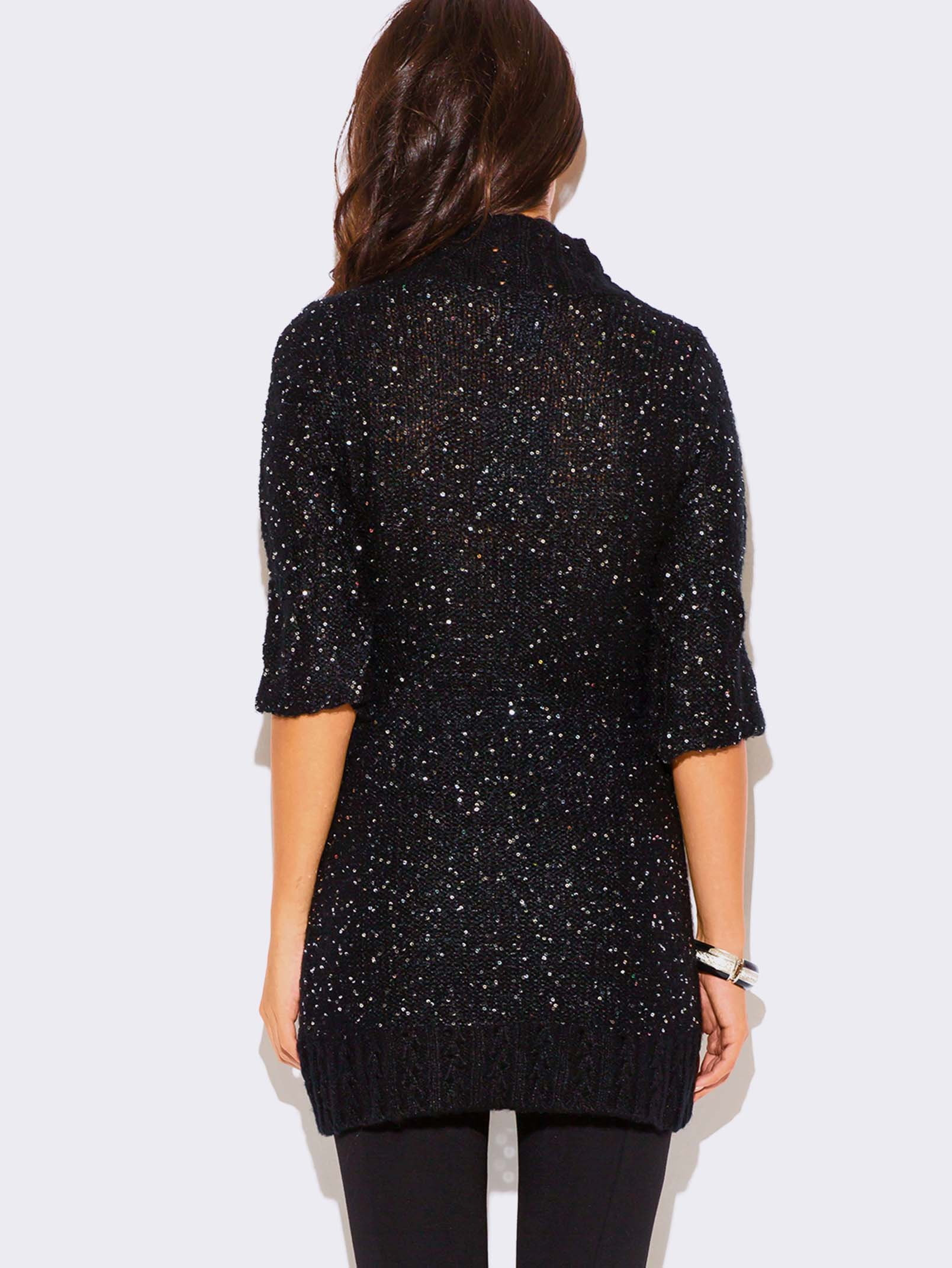 BLACK SEQUINED SWEATER DRESS