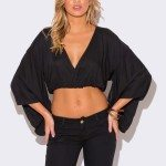 BLACK V NECK KIMONO SLEEVE CROP TOP