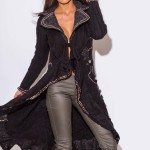 BLACK WOOL MOHAIR BLEND SWEATER JACKET