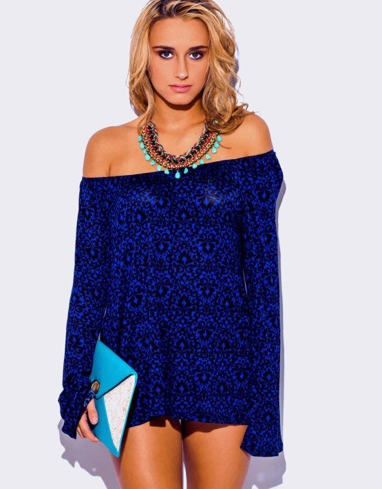 DARK BLUE PRINT LONG SLEEVE TUNIC TOP