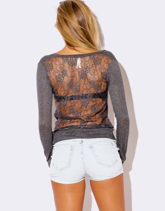CHARCOAL GRAY LACE BACK CARDIGAN SWEATER