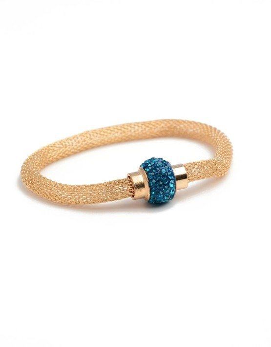 Gold Tone Color Stone Magnetic Mesh Bracelet