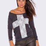 WOMEN'S GRAY LONG SLEEVE LACE CROSS APPLIQUE TOP