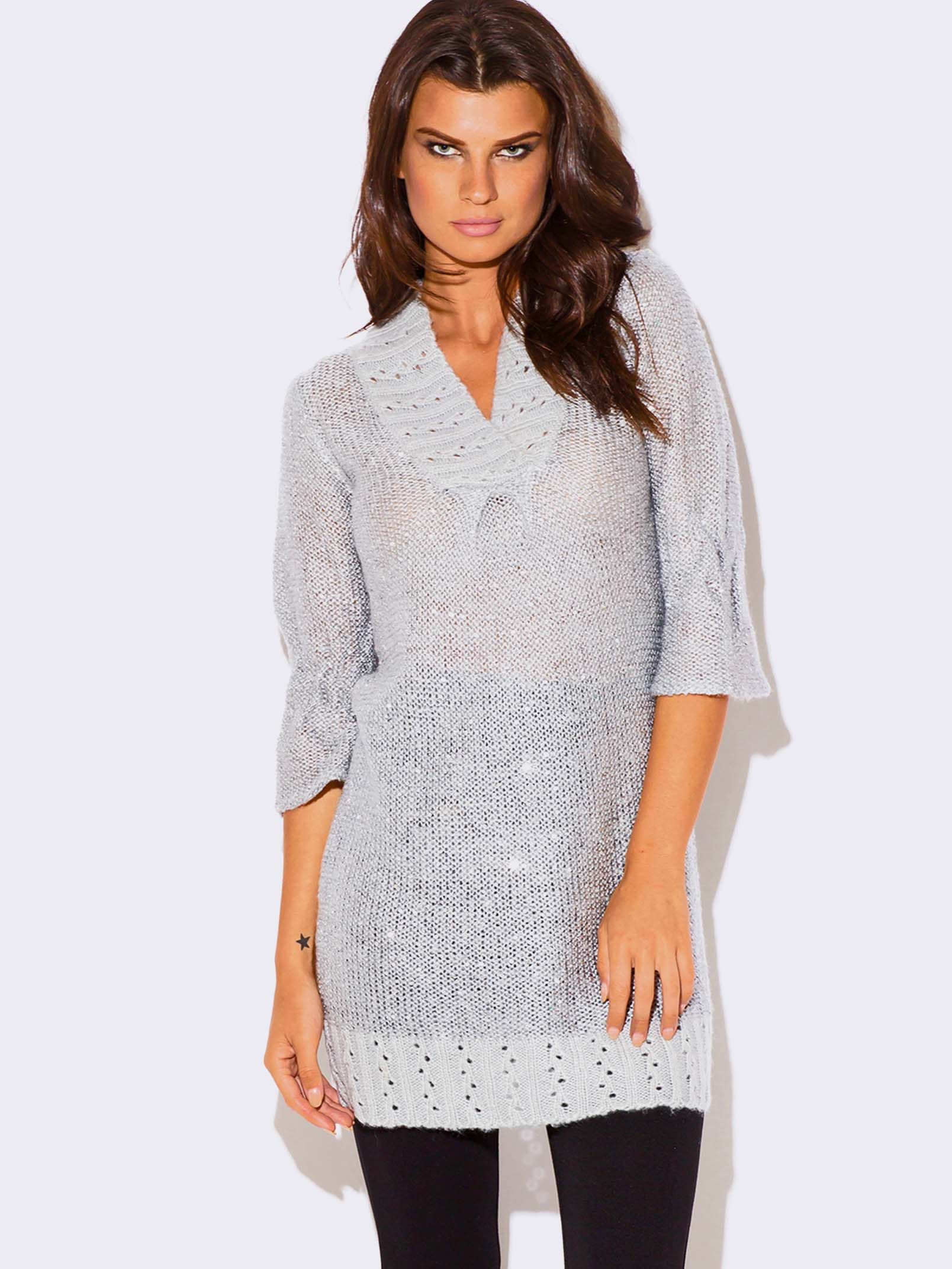 GRAY SEQUINED SWEATER DRESS
