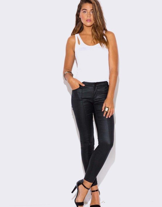 BLACK DENIM HIGH WAISTED WET LOOK SKINNY JEANS