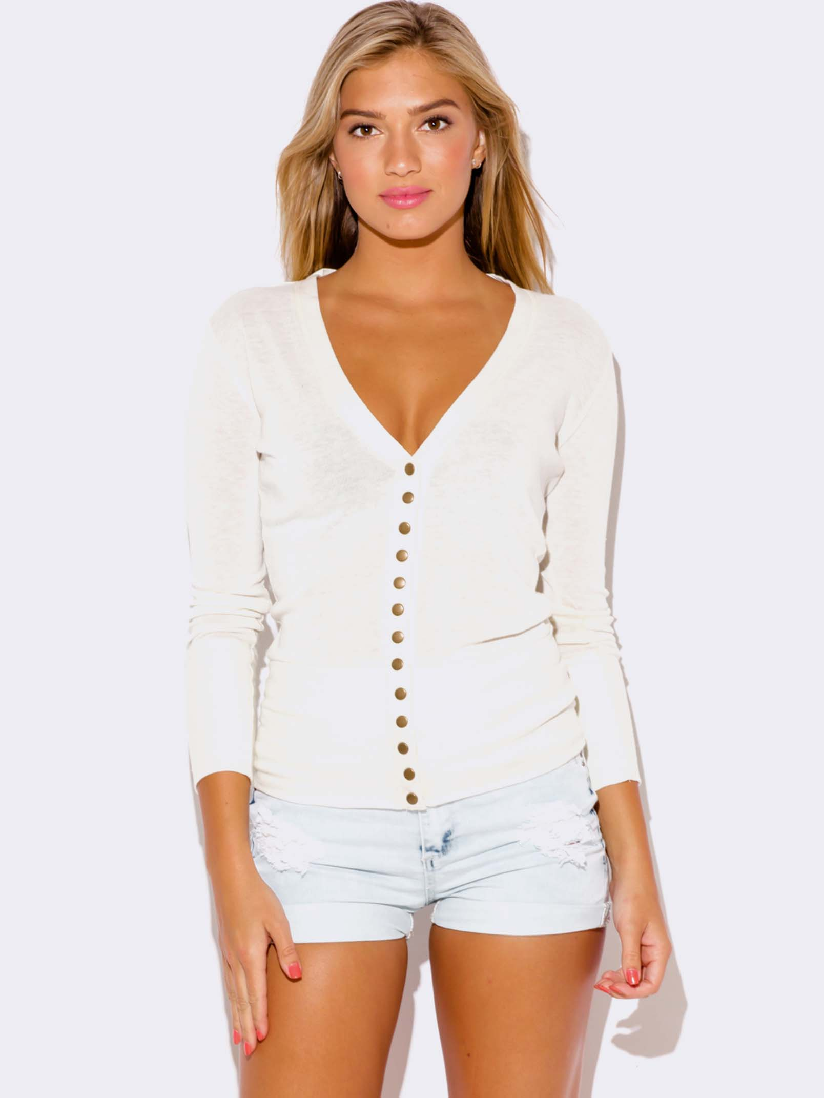 WHITE CARDIGAN SWEATER - ModishOnline.com