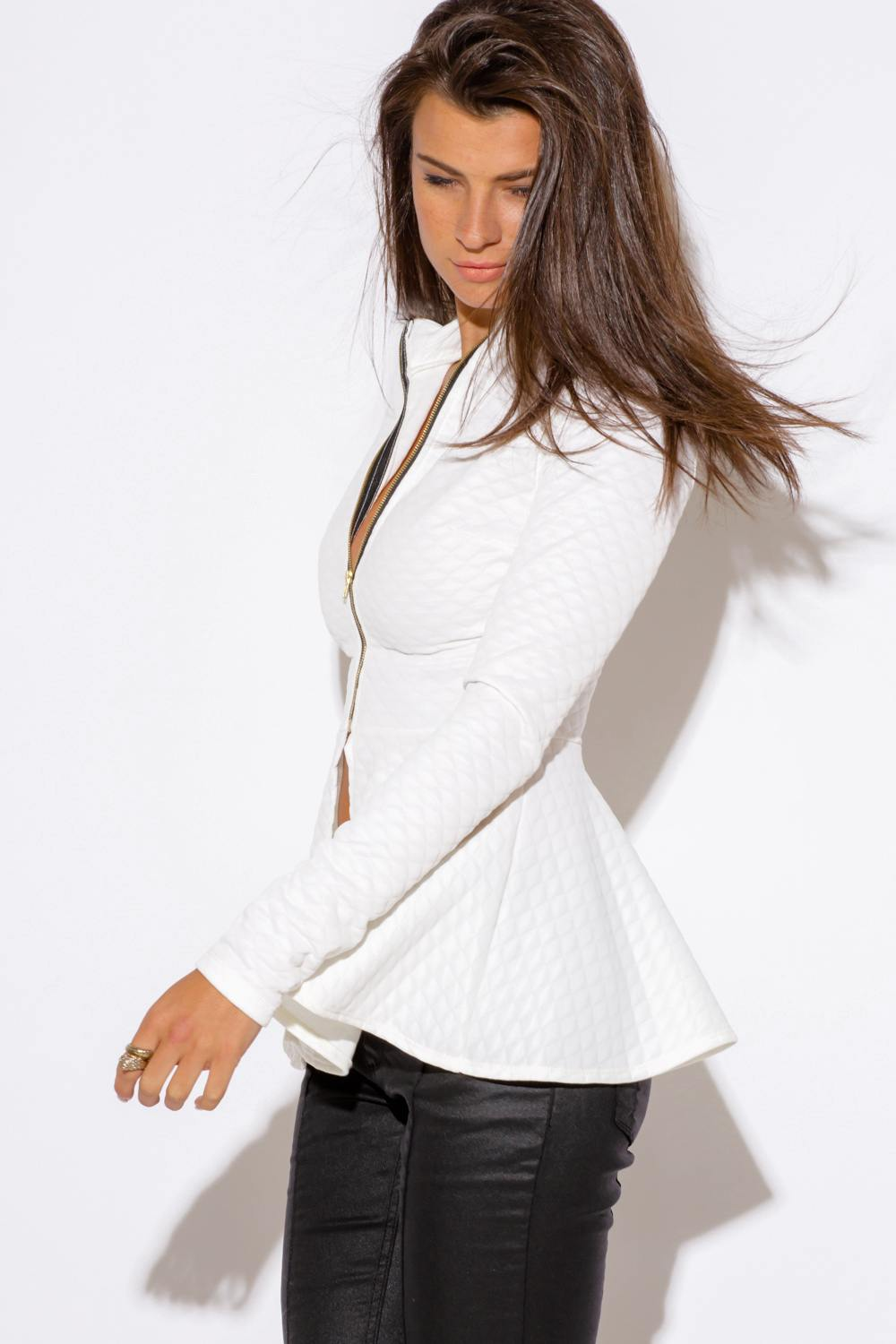 Rated 5 out of 5 by EastCoast44 from So impressed with this jacket I'll bet I've been looking for the perfect peplum/flare hem white blazer for 5 years. I am annoyingly picky about blazers, and I could never find one that checked off all the boxes until I saw this one/5(50).