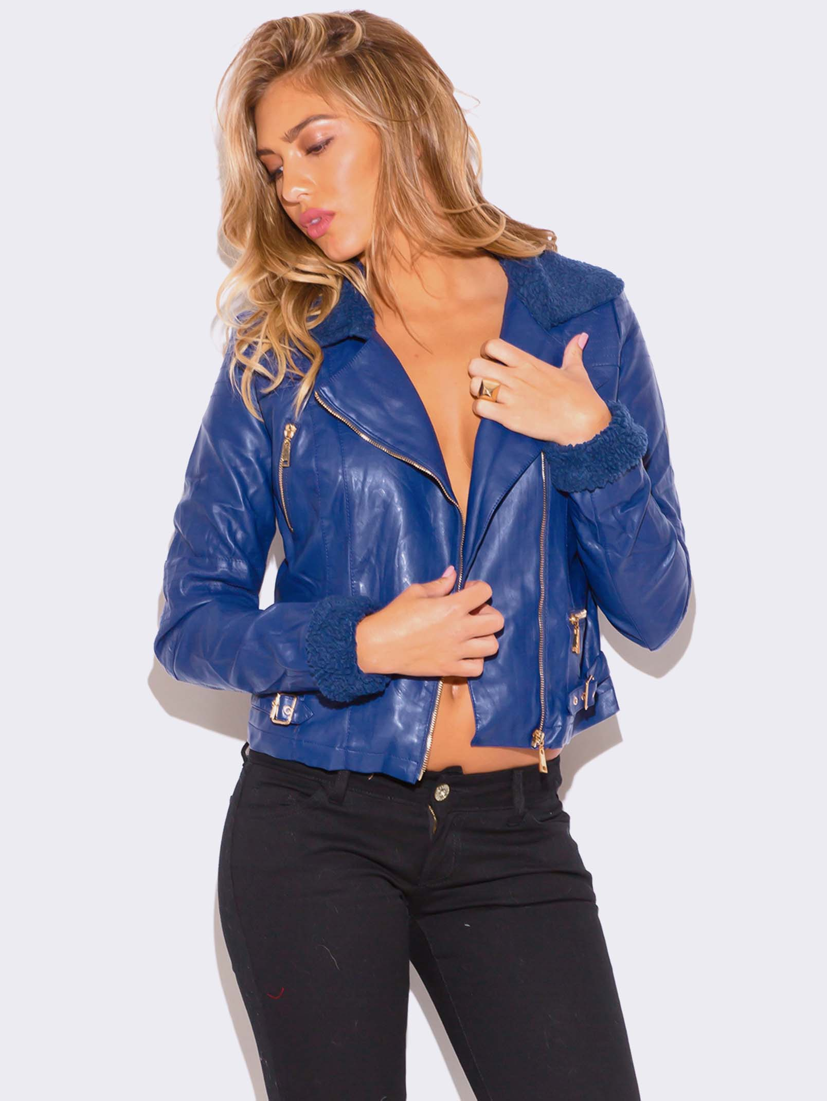 c2648fff6 VEGAN LEATHER BIKER JACKET | ModishOnline.com