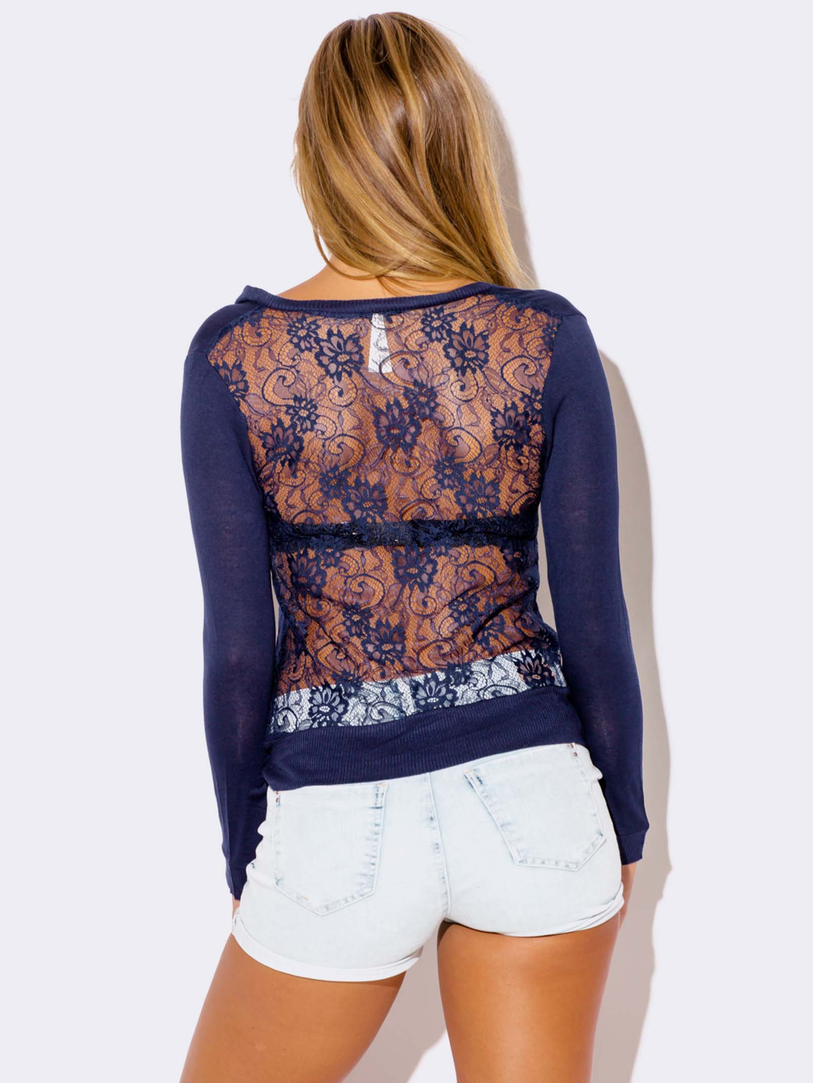 NAVY BLUE LACE BACK CARDIGAN SWEATER - ModishOnline.com