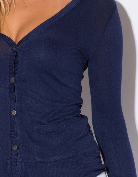 NAVY BLUE LACE BACK CARDIGAN SWEATER